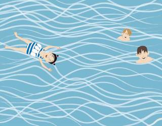 Alma schwimmt im Meer