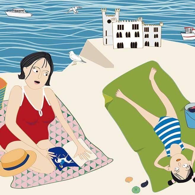 Alma mit der Mutter am Meer