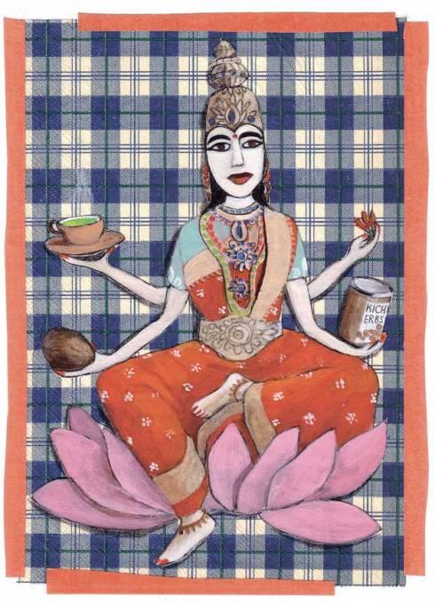 Indische Göttin, Neujahrskarte