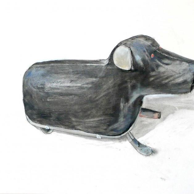 Blechhund, Kohlezeichnung, schwarzweiss