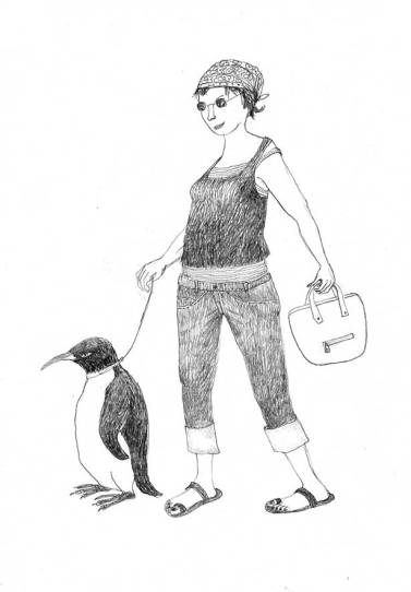Spaziergang mit Pinguin