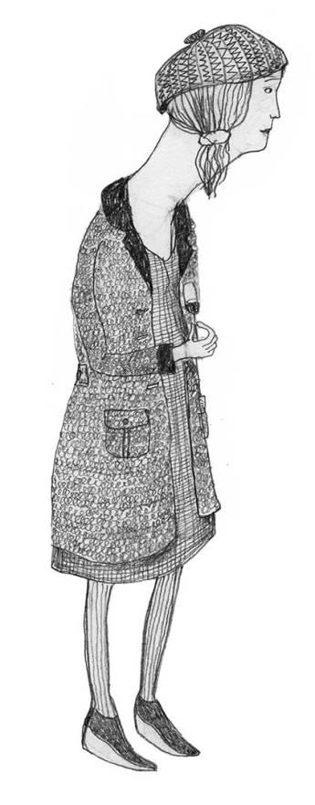 Frau mit Muetze, Illustration
