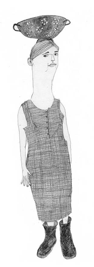 Frau mit Sieb, Zeichnung, Illustration, Figur