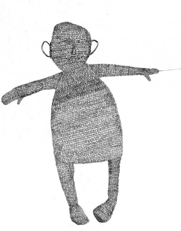 Puppe, Illustration, schwarzweiss