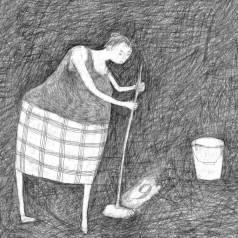 Frau beim putzen, Neujahrskarte