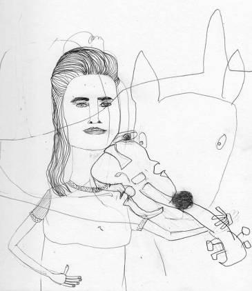 Frau J. spielt Geige, Zeichnung