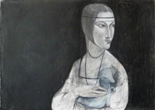 Die Dame mit dem Hermelin - Kohlezeichnung