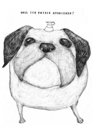Hund aufgeblasen, Zeichnung