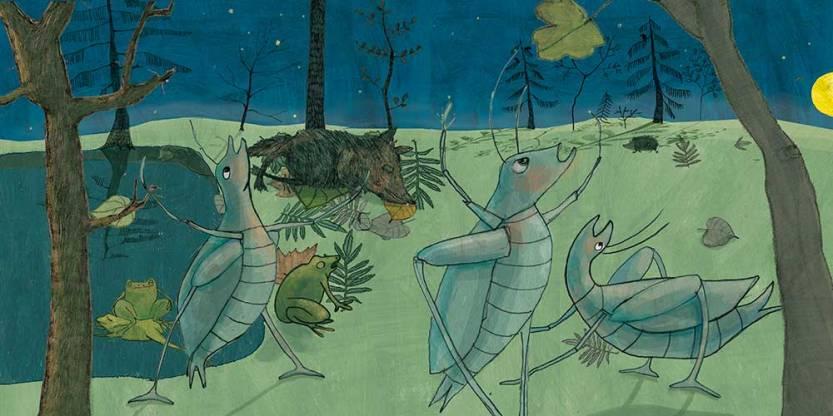 Grillen, Kinderbuch-Illustration