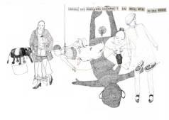 Figuren, Bleistiftzeichnung, Neujahrskarte