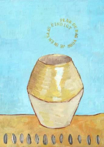 Sonnenblumenkerne und Vase, Neujahrskarte