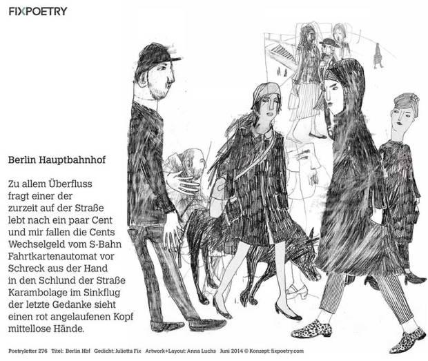 Menschen im Bahnhof, Illustration für Fixpoetry