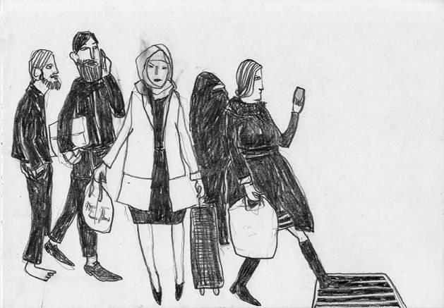 Menschen auf der Strasse, Skizzenbuch