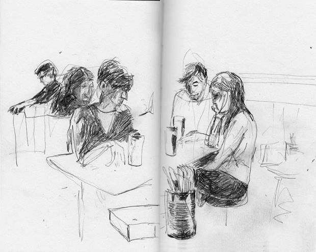 Leute im Pub, Skizzenbuch