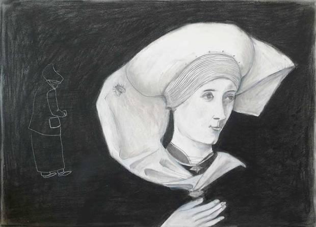 Illustration, Frauenporträt nach einem alten Oelbild