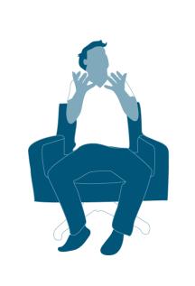 Illustration Mann auf einem Stuhl