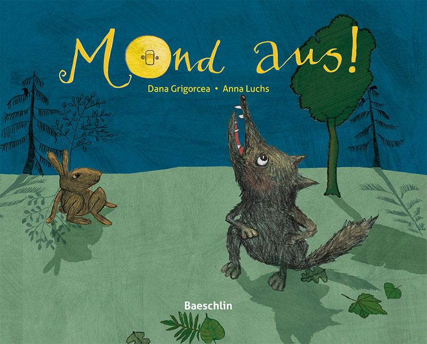 Illustration, Wolf Hase und Mond