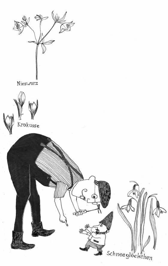 Illustration, Skizze, Gartenarbeit im Februar
