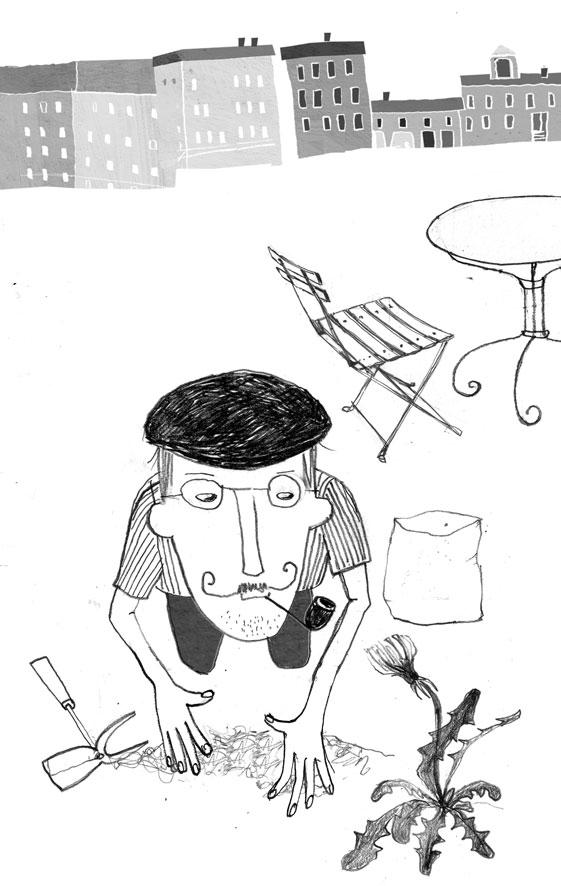 Illustration, Gartenarbeit im April