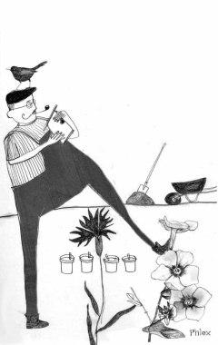 Illustration, Gartenarbeit im Dezember