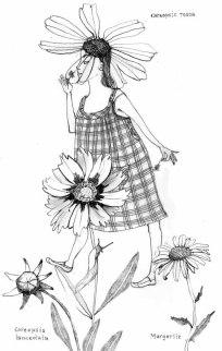 Illustration, Gartenarbeit im Juli