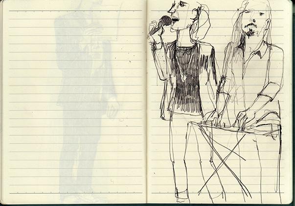 life performance, Zeichnung, Skizze