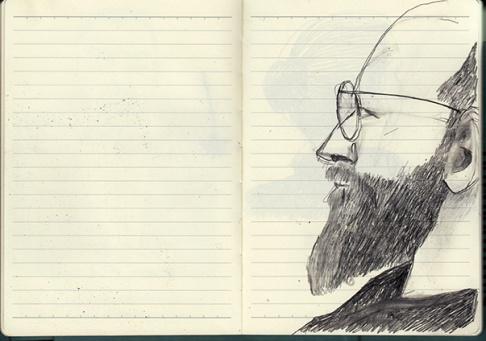 Zeichnung, Mann mit Bart