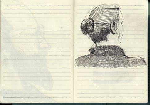 Zeichnung, Frau von hinten