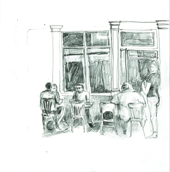 Illustration, Skizze, Café
