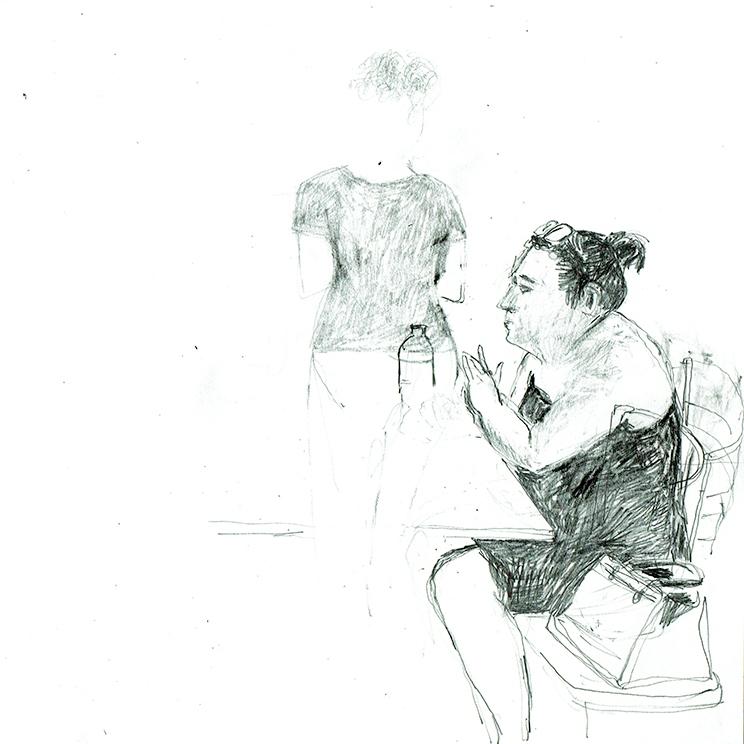 Skizze, Illustration, Frau im Café