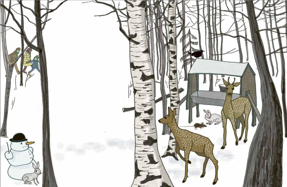 Rehe, Schneemann und Hasen im Wald